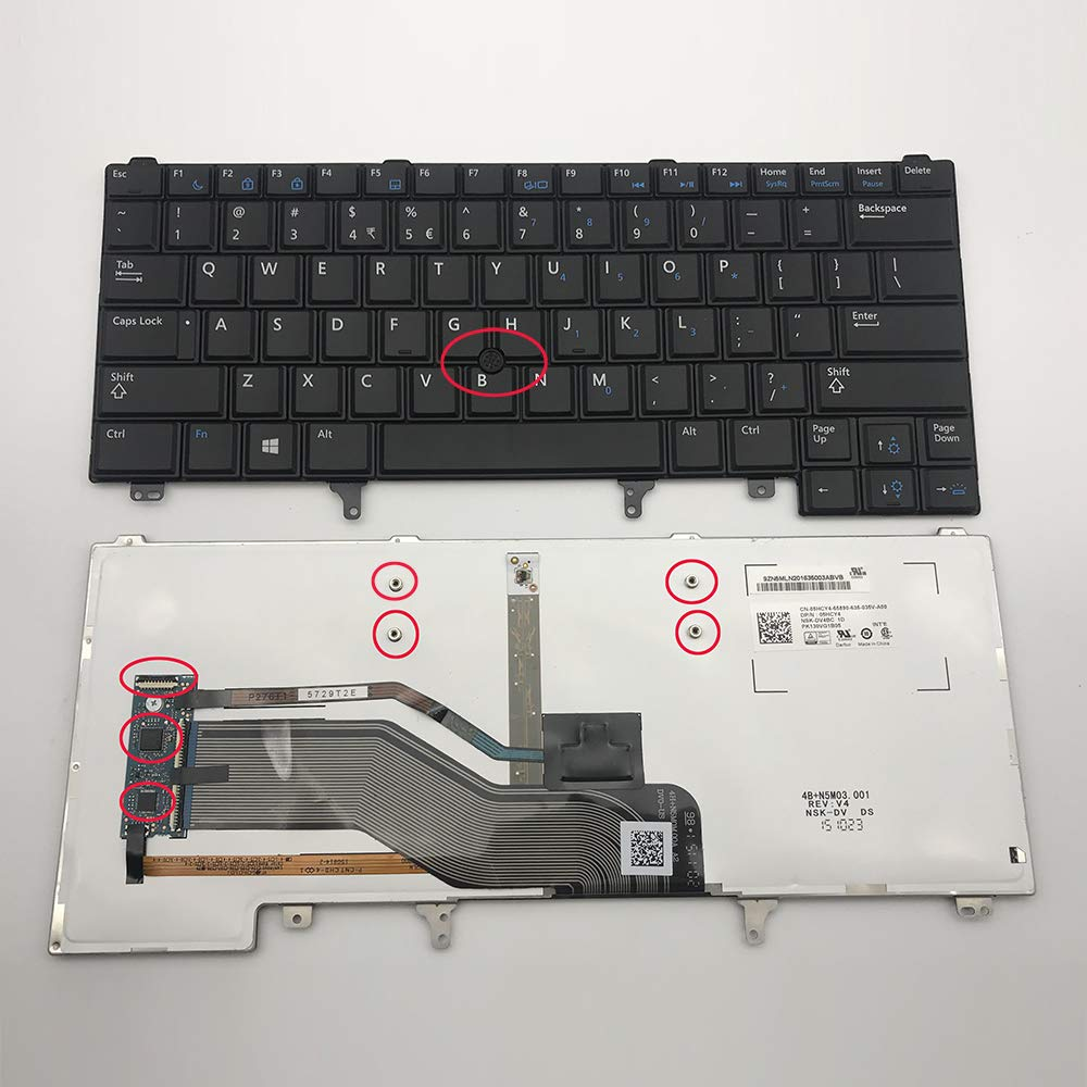Sierra Blackmon Replacement Keyboard with Backlit and Pointer for Dell Latitude E6420 E6320 E6330 E6430 E6440 E5420 E5430 E6420 ATG series Black US Layout, Compatible part number CN5HF 0CN5HF