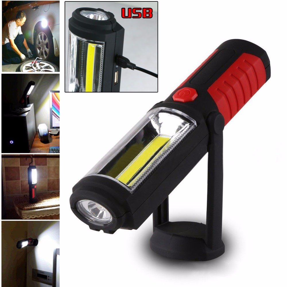 Zhuoman New Portable USB Rechargeable COB LED Flashlight Torch Work Light lanterna Magnetic Stand Hanging Lamp For Outdoor Camping by Zhuoman (Image #1)