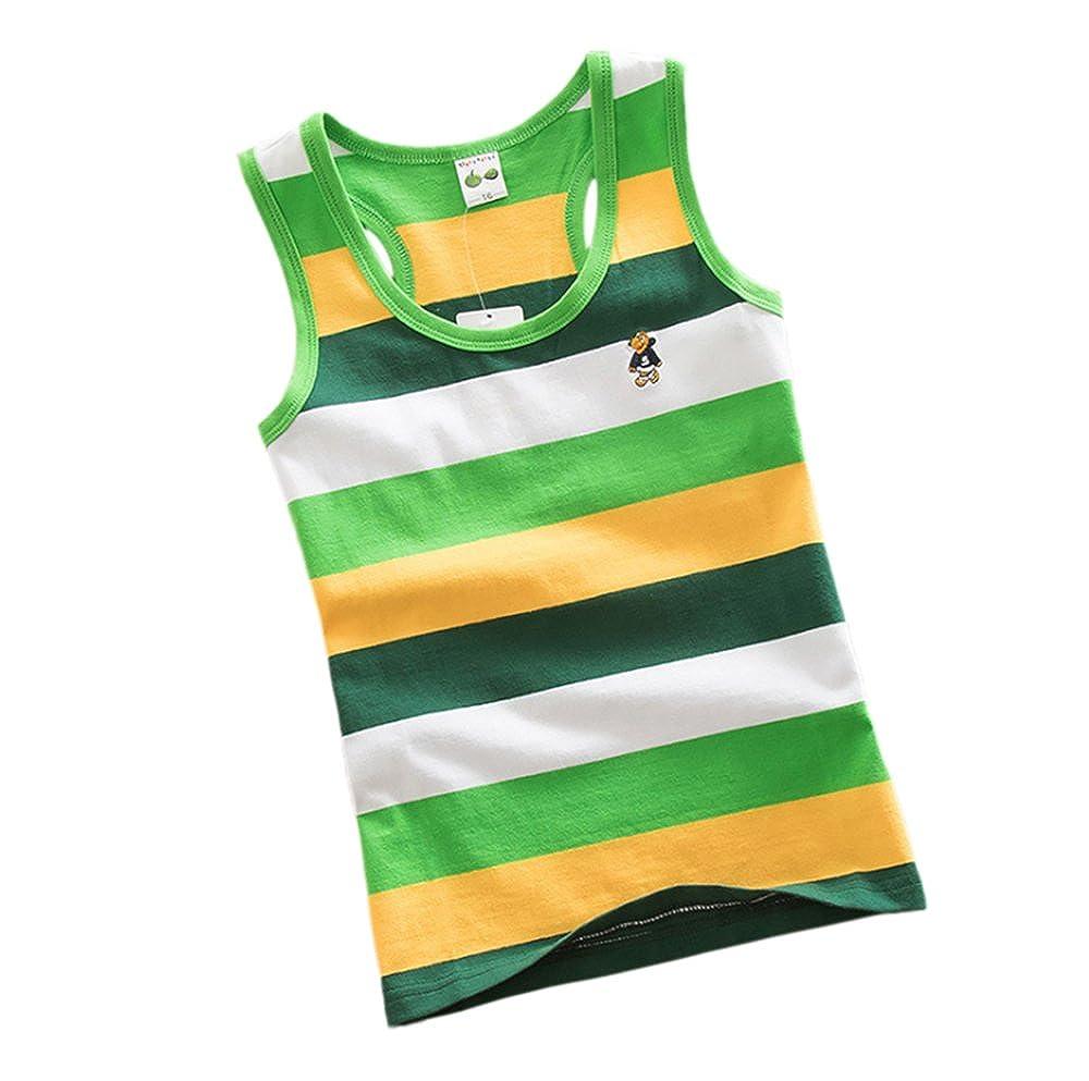 4X Kids Boys Children Black red Orange Green Vests Cotton Sleeveless Summer Tank Schoolwear