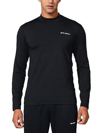 Baleaf Men s Thermal Fleece Long Sleeve Fitted Mock Shirt Black Size S 65ff7ab86