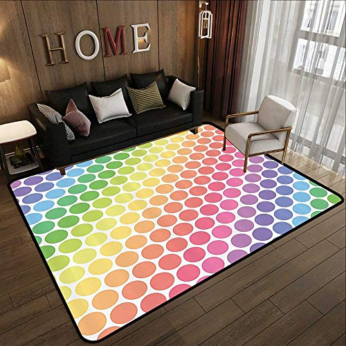 Large Classical Carpet,Polka Dots Home Decor,Polka Dots in Soft Rainbow Colors Big Points Eternal Shapes Retro Artful Pattern,Multi 59