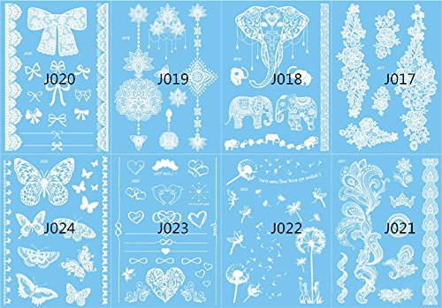 8 Sheets White Body Paint Flash Tattoo Inspired Sticker Henna Lace Ink Fashion Body Art Water Transfer Face Body Painting Decals Stickers from Knit