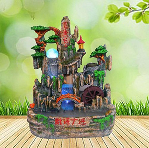 Water Fountain Decoration Resin Crafts Humidifier Feng Shui Indoor Rockery Pond Water Landscape Decoration Artwork