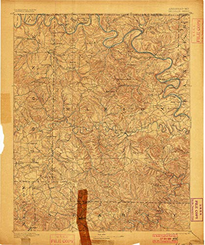 Yellville AR topo map, 1:125000 Scale, 30 X 30 Minute, Historical, 1893, Updated 1900, 19.7 x 16.5 in - Tyvek
