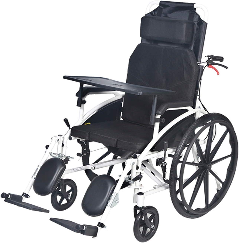 QZC Silla de Ruedas Multifuncional, neumáticos macizos Reforzados, cojín Transpirable Plegable Ligero, tamaño 45.28in × 45.28in × 26.38in para Viajar