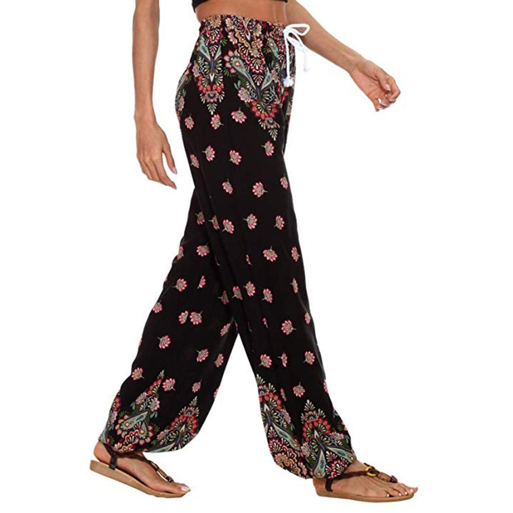 BAOHOKE Cute Pineapple Pattern Loose Wide Leg Pants,Casual Boho Womens Summer Elastic Waisted Trousers