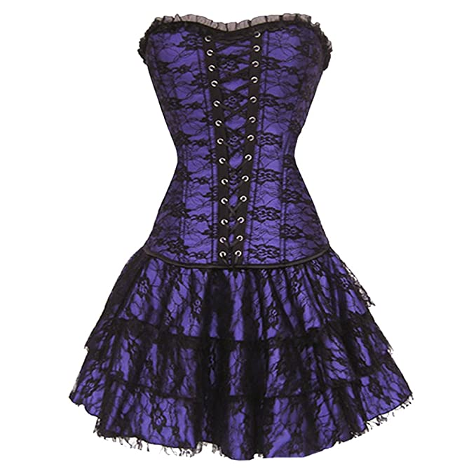 ZAMME Womens Gothic Lace Trim Corset With G-String & TuTu at Amazon Womens Clothing store: