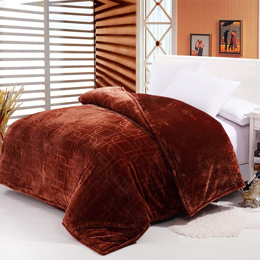 WJ 毛布ベッドスプレッドキングサイズ毛布ダブルベッド、ソファスーパーソフト毛布、ベッドチェアまたはソファ、3色に最適 (色 : Brown, サイズ さいず : 150 * 200cm) B07J6GLZ45 Brown 150*200cm