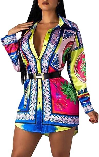 Mujer Camisa Larga Cárdigan Cuello Polo Camisa con Botones Manga Larga Estampado Floral Vintage Blusa Camiseta Tops: Amazon.es: Ropa y accesorios