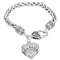 Mother's Day Gift for Grandma Bracelet Engraved Gift Jewelry For Grandma Crystal Adorned Heart Shaped Pendant Lobster Claw Bracelet Gift for Mom or Grandma Colorless