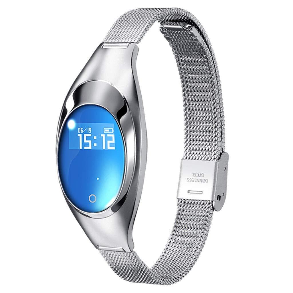 GXOK Z18 Smart Watch Blood Pressure&Blood Oxygen&Heart rateMonitor Smart Bracelet Watch for Women (Silver) by GXOK
