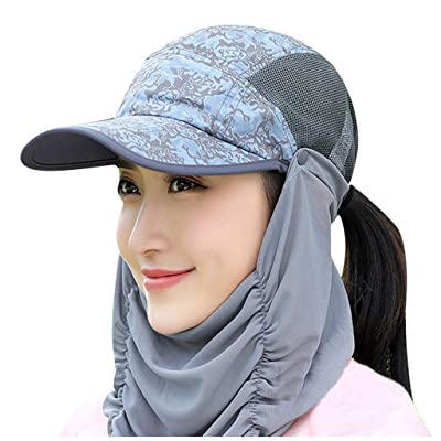 Renzhe Sun Cap Fishing Hats with Face Masks Outdoor Sun Protection Visor Caps with Windproof Neck Face Mask Visors Flap Cover: Toys & Games