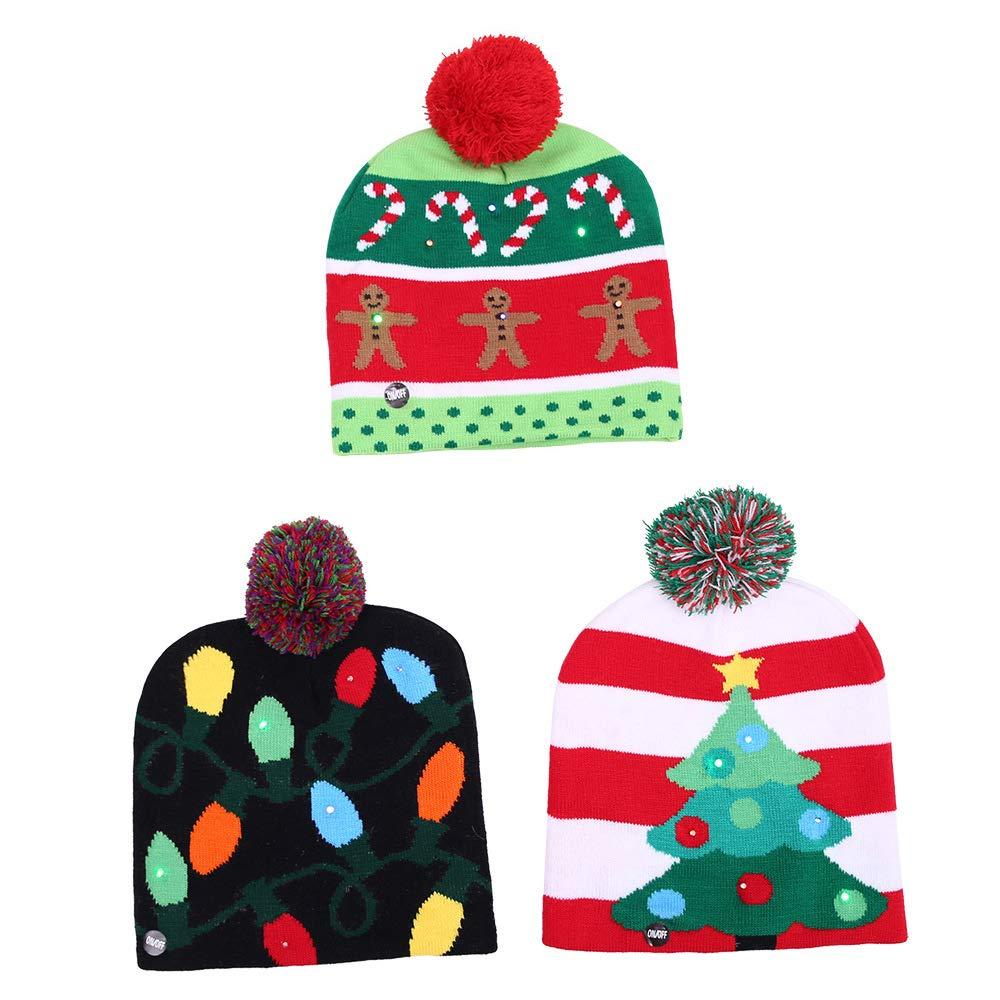Amazon.com  Giveme5 Christmas LED Knitted Hat ba09aa626fe2