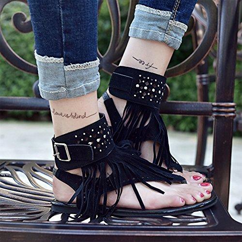 Plates Sandales Mode Femmes Chaussures D'été Noir Strass Toe Clip Bozevon Glands ISqwZ