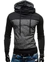 HENGAO Men's Long Sleeves Fashion Colorblock Turtle Neck Hoodie Pullover