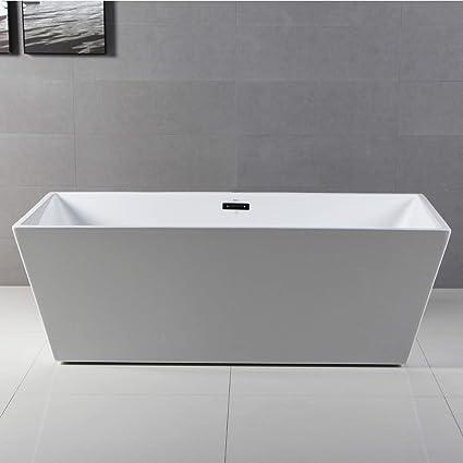 FerdY 59u0027u0027 Acrylic Freestanding Bathtub, White Modern Stand Alone Bathtub  Soaking Bathtub,