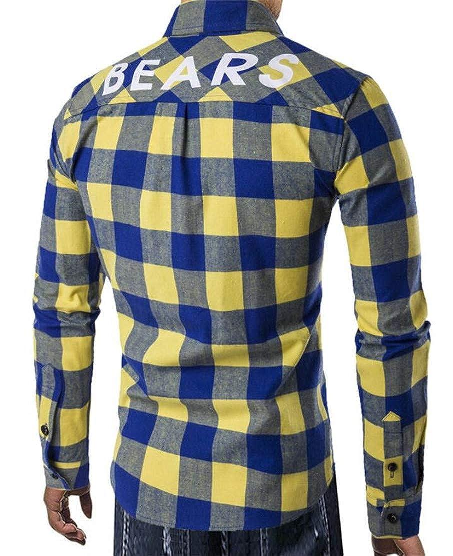 Zantt Mens Button Down Plaid Chest Pocket Long Sleeve Casual Shirts