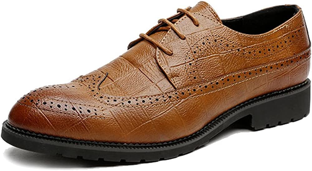 MUMUWU Mens Classic PU Leather Shoes Classic Lace Up Breathable Formal Business Lined Oxfords