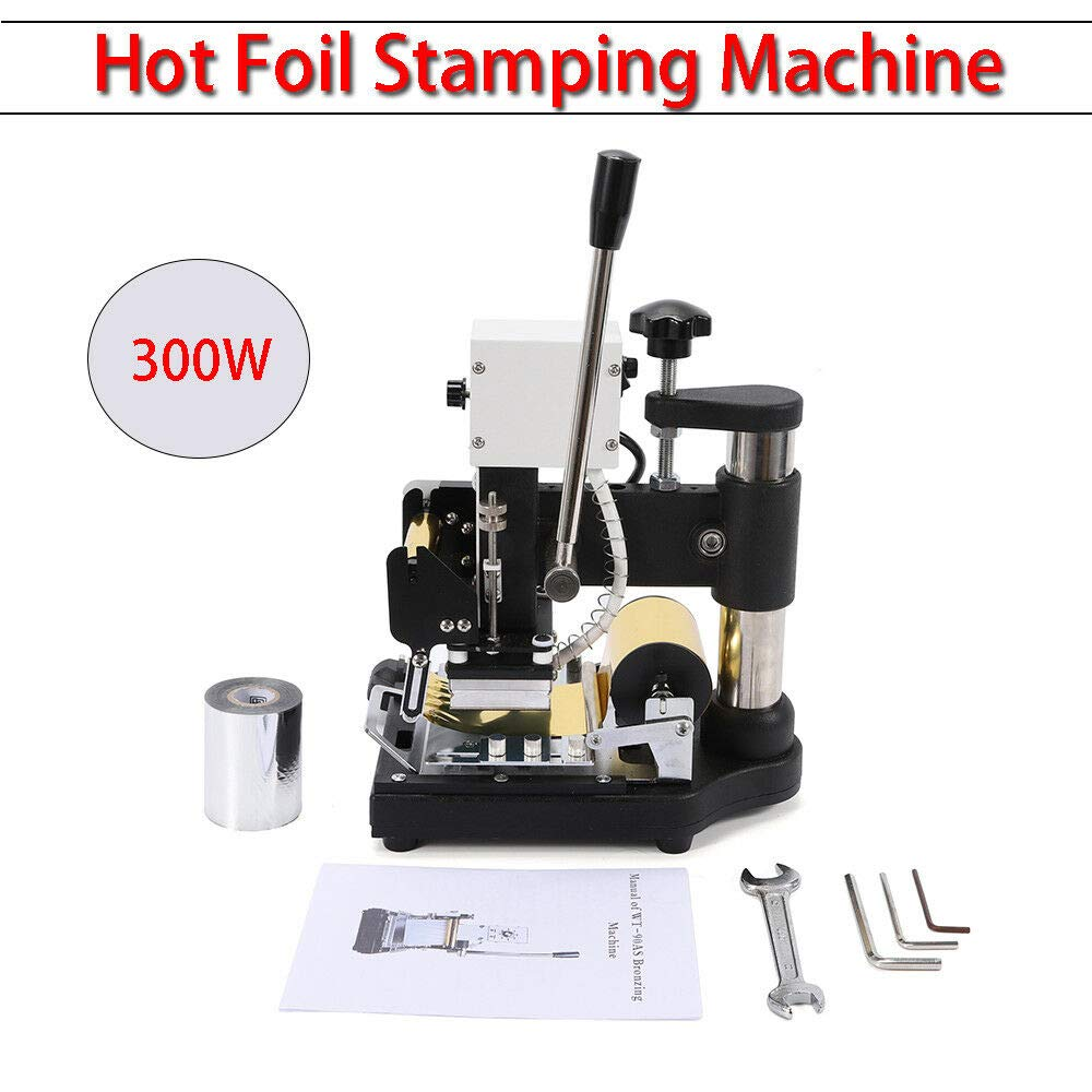 Hot Foil Stamping Machine, 110V 300W Manual Tipper Stamper Bronzing PVC Leather Embossing Tool Printing Logo with Sliver Gold Foil Paper for DIY Paper Credit Card
