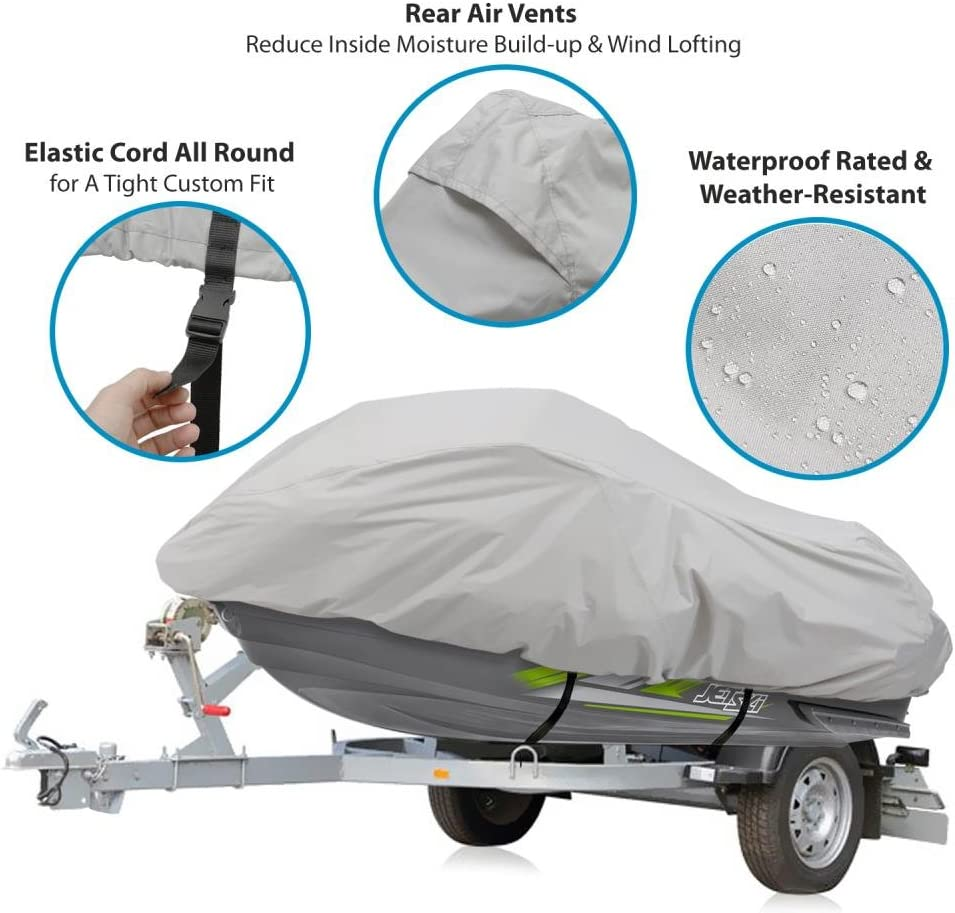 Marine Grade Protection Waterproof Heavy Duty Jetski Cover Pyle PCVJS14 139/'/' 145/'/' Inch Mildew Resistant Watercraft Storage Cover with Adjustable Strap /& Elastic Cord for Tight Custom Fit