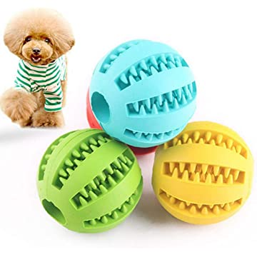 Cascat Pet Chew Toy-Dog Toy Ball-Nontoxic Bite Resistant Toy Ball for Pet Dogs Puppy Cat-Feeder Chew Tooth Cleaning Ball Exercise Game IQ Training Ball-2inch(S)