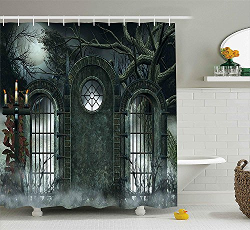 Yomyceo Horror House Decor Shower Curtain by, Moon Halloween Ancient Historical Gate Gothic Background Candles Fiction View, Fabric Bathroom Decor Set with Hooks, 72X72 Inches, Hunter Green by Yomyceo