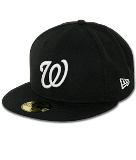 low priced 8cd61 1a0f7 Image Unavailable. Image not available for. Color  New Era Washington  Nationals BK WH BK Fitted Hat (Black White) Men s 59Fifty