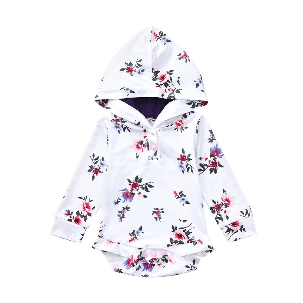Oldeagle Newborn Kids Baby Boys Girls Floral Hoodie Romper Jumpsuit Baby Fashion Clothing (6M, White)