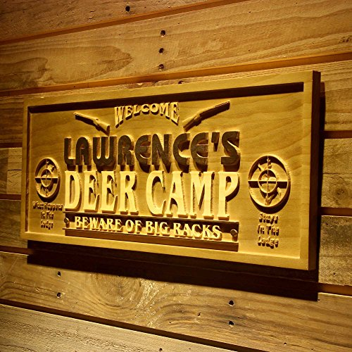 ADVPRO wpa0080 Name Personalized Deer Camp Man Cave Lake House Hunting Gun 3D Engraved Wooden Sign - Standard 23
