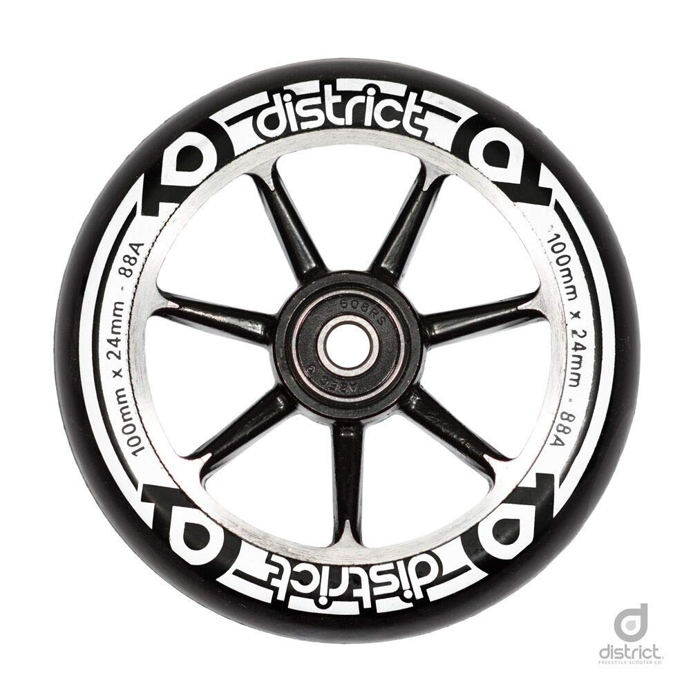 District Cast Alloy Core Patinete de Rollo 100 mm Negro ...