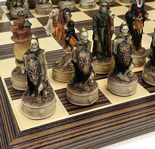 HPL Skeleton Slayer Gothic Fantasy Skull Chess Set W/ 14