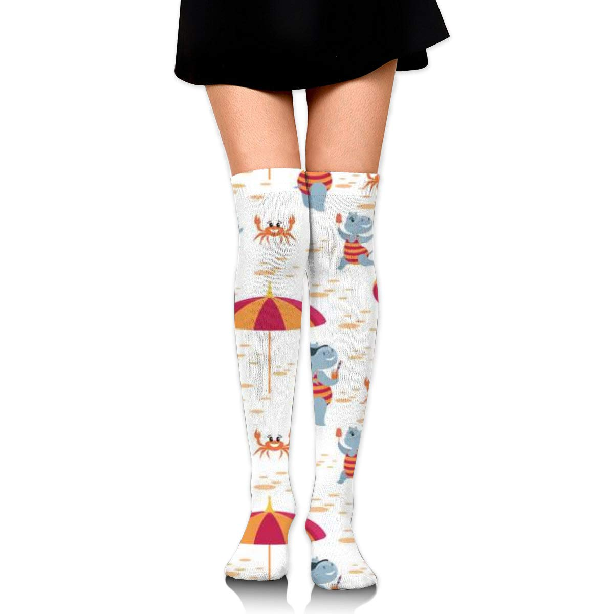 Knee High Socks Fun Hippos Vacation A White 23.6 Inch Compression Sock Stockings For Women Girls