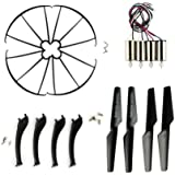 Coolplay Syma X5SC X5SW Full Set Replacement Props Propellers & Motors & Landing Gears & Blade Frames Spare Parts for RC Mini Quadcopter ( Black)