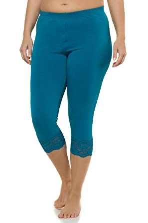 f01d90c9c1f3cc Ulla Popken Damen große Größen | Leggings| elastischer Bund, Uni, Spitze |  Capri