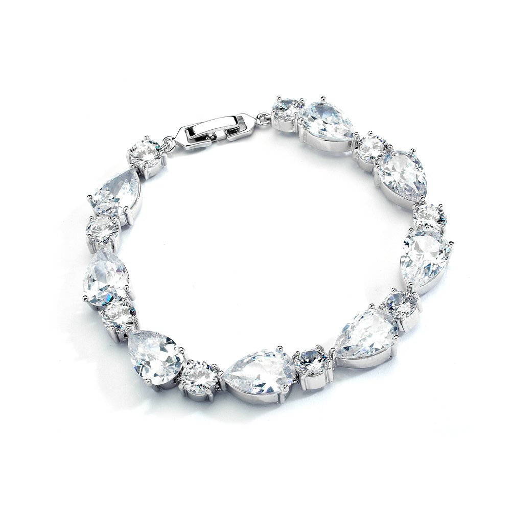 Mariell Glamorous CZ Bridal Bracelet Pear-Shaped and Round Cut - Ideal Wedding and Bridesmaids Jewelry