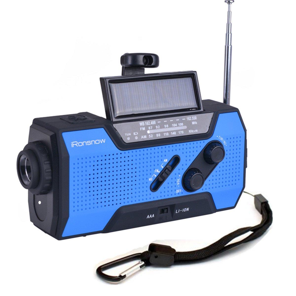 iRonsnow IS-090 Dynamo Emergency Solar Hand Crank Self Powered AM/FM/NOAA Weather Radio, with 2000mAh Power Bank, Flashlight, Reading Lamp and SOS Alarm (Blue)
