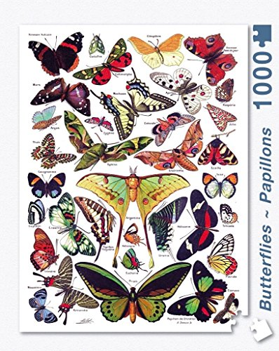 Butterfly Jigsaw Puzzles (New York Puzzle Company - Butterflies ~ Papillons - 1000 Piece Jigsaw Puzzle)