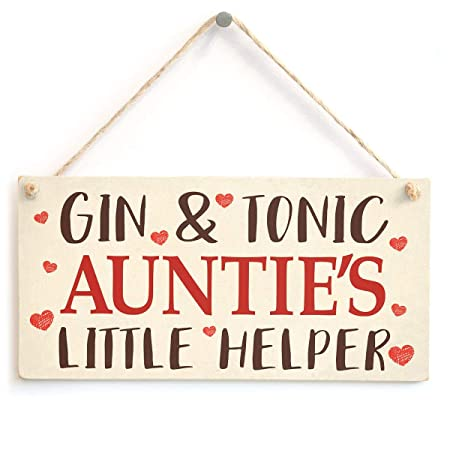 ECONG Gin and Tonic Aunties Little Helper Placa de Madera ...