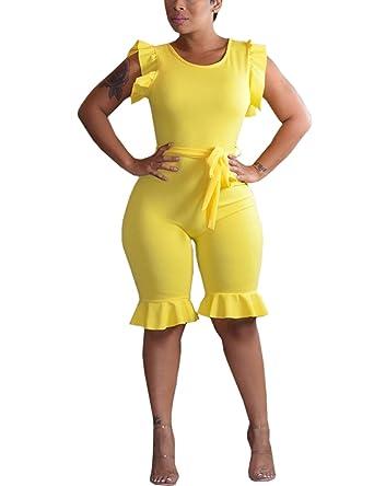 b9013c90b1ef Amazon.com  CHICME Women Solid Ruffles Bodycon Plus Size Jumpsuit Romper   Clothing