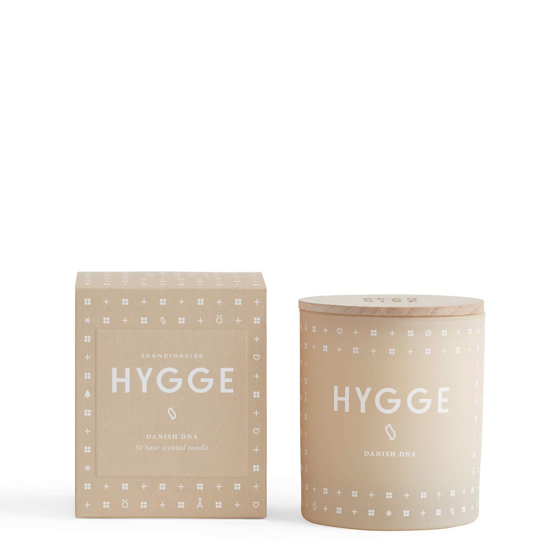 Skandinavisk Hygge (chaleur) Bougie parfumée avec couvercle gravé en bois de hêtre 190g 1103