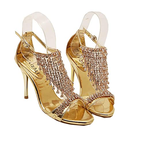 62f1e136571d1e Mollybridal Sparkly Sliver Wedge Sandals Open Toe Bling Evening Party Wedding  Beach High Heels Gold 4