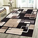 Contemporary Thin Squares Geometric Emerald Collection Carved Area Rug by Rug Deal Plus (7'11'' x 10'4'', Black/Beige)