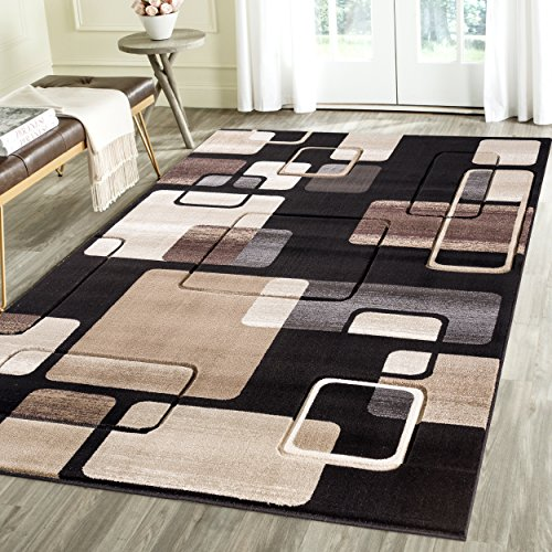 Contemporary Thin Squares Geometric Emerald Collection Carved Area Rug by Rug Deal Plus (7'11'' x 10'4'', Black/Beige) by Rug Deal Plus