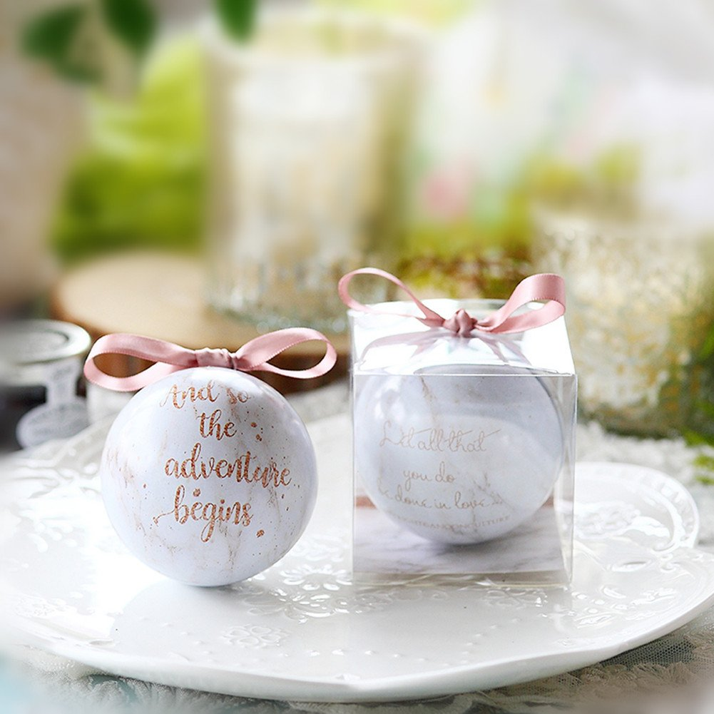 Amazon.com: Toshine Spherical Favor Sugar Box Marble Iron Tin ...
