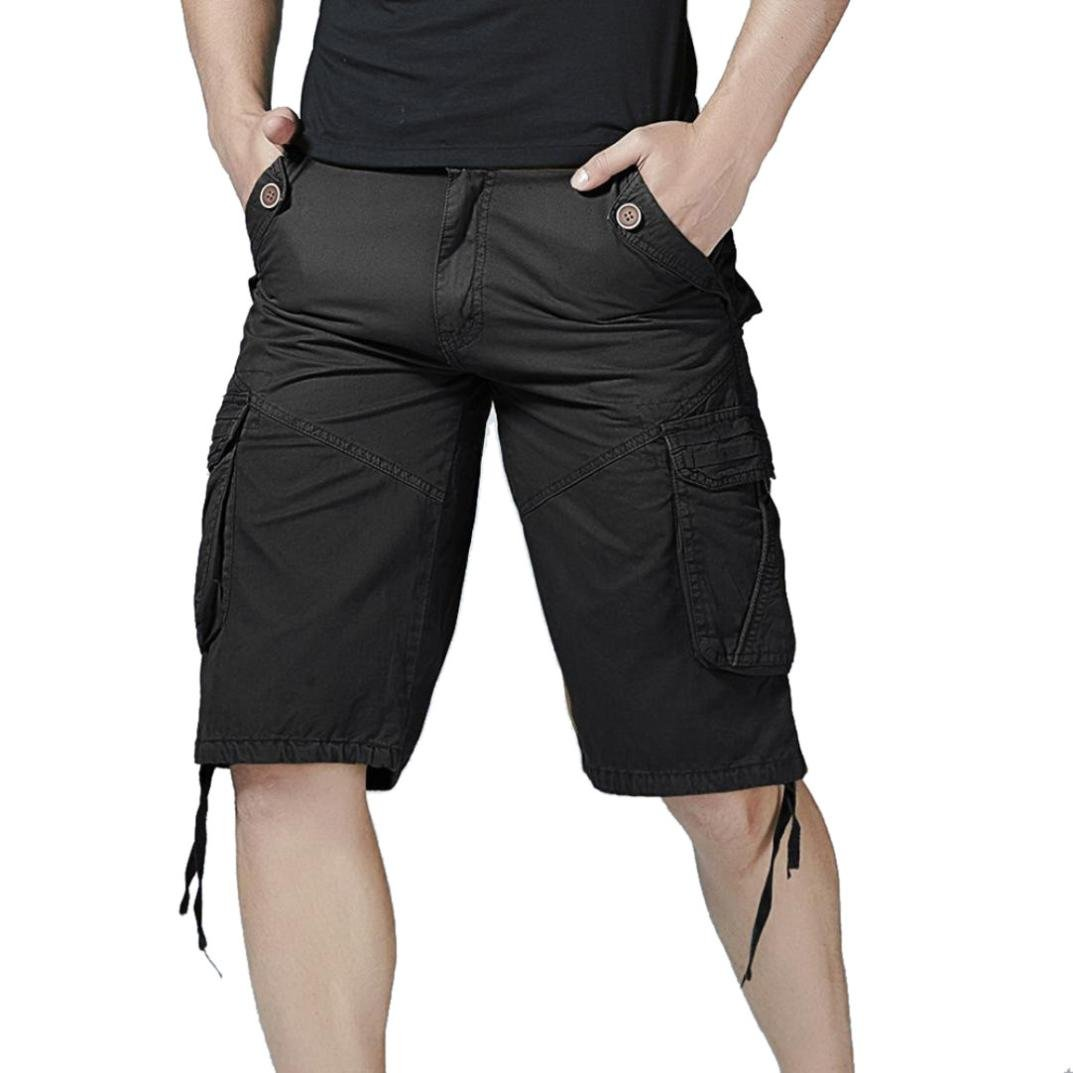 PASATO Clearance! Fashion Mens Casual Pocket Beach Work Casual Short Trouser Shorts, Classic Casual Pants(Black, 30)