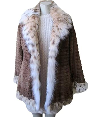 b4c5db52b8af6 Image Unavailable. Image not available for. Color: Women's Size 8 New Brown  Sheared Beaver Fur Coat Jacket Stroller with Lynx Fur Collar and
