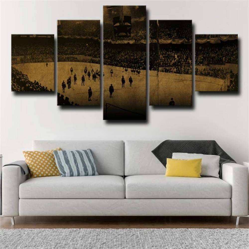 SDFFD Canvas Prints 5 Piece Fresco Decoration Wall Decorations for Living Room Pictures Modern Td Garden at Boston Bruins Arena Picture Printed On Canvas Giclee Artwork