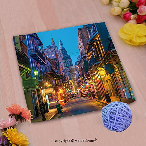 VROSELV Custom Cotton Microfiber Ultra Soft Hand Towel-pubs and bars with neon lights in the french quarter new orleans usa Custom pattern of household - Charleston Quarter French