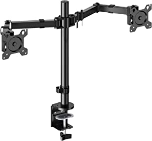 Perlegear Dual Monitor Desk Mount with Height Adjustable Articulating Arms Stand Heavy Duty Clamp and Grommet Base Fits Two 17-32 Inch Flat Curved Screens, Max VESA 100x100mm Holds up to 26 lbs