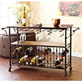 Tuscany Espresso/ Black Wine/ Bar Cart Serving Table Includes Nine (9) Hanging Glass Racks for Approximately 18 to 22 Glasses